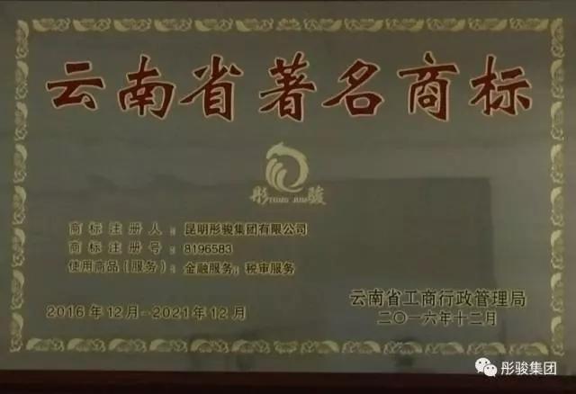 """恭喜荣获""""云南省著名商标"""